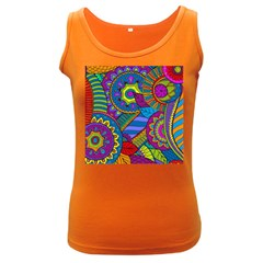 Pop Art Paisley Flowers Ornaments Multicolored Women s Dark Tank Top