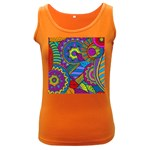 Pop Art Paisley Flowers Ornaments Multicolored Women s Dark Tank Top Front