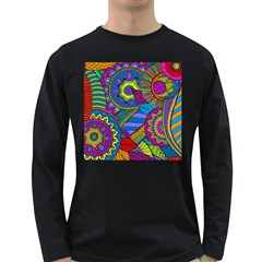 Pop Art Paisley Flowers Ornaments Multicolored Long Sleeve Dark T Shirts
