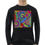Pop Art Paisley Flowers Ornaments Multicolored Long Sleeve Dark T-Shirts Front