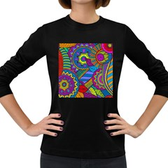Pop Art Paisley Flowers Ornaments Multicolored Women s Long Sleeve Dark T Shirts