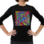Pop Art Paisley Flowers Ornaments Multicolored Women s Long Sleeve Dark T-Shirts Front