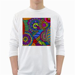 Pop Art Paisley Flowers Ornaments Multicolored White Long Sleeve T Shirts