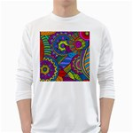 Pop Art Paisley Flowers Ornaments Multicolored White Long Sleeve T-Shirts Front