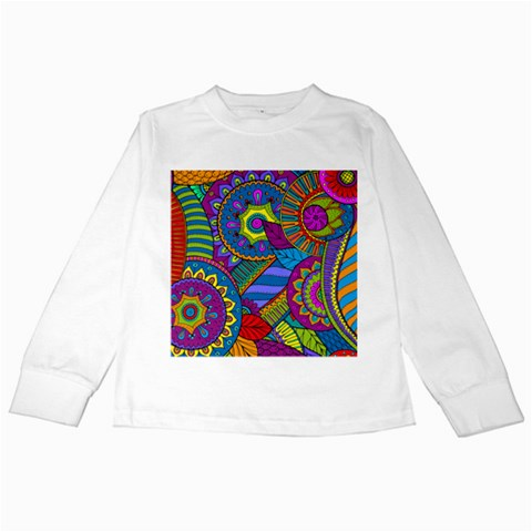 Pop Art Paisley Flowers Ornaments Multicolored Kids Long Sleeve T-Shirts