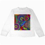 Pop Art Paisley Flowers Ornaments Multicolored Kids Long Sleeve T-Shirts Front