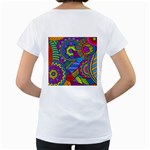 Pop Art Paisley Flowers Ornaments Multicolored Women s Loose-Fit T-Shirt (White) Back