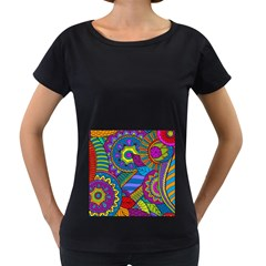 Pop Art Paisley Flowers Ornaments Multicolored Women s Loose Fit T Shirt (black)