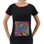 Pop Art Paisley Flowers Ornaments Multicolored Women s Loose-Fit T-Shirt (Black) Front