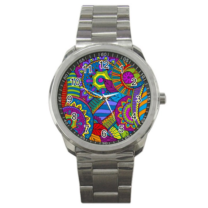 Pop Art Paisley Flowers Ornaments Multicolored Sport Metal Watch