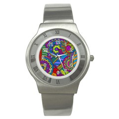Pop Art Paisley Flowers Ornaments Multicolored Stainless Steel Watch