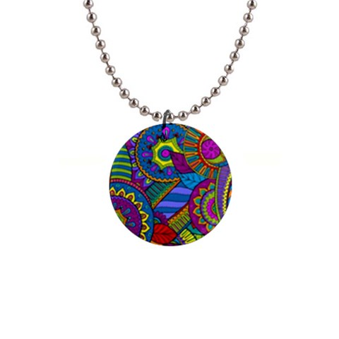 Pop Art Paisley Flowers Ornaments Multicolored Button Necklaces