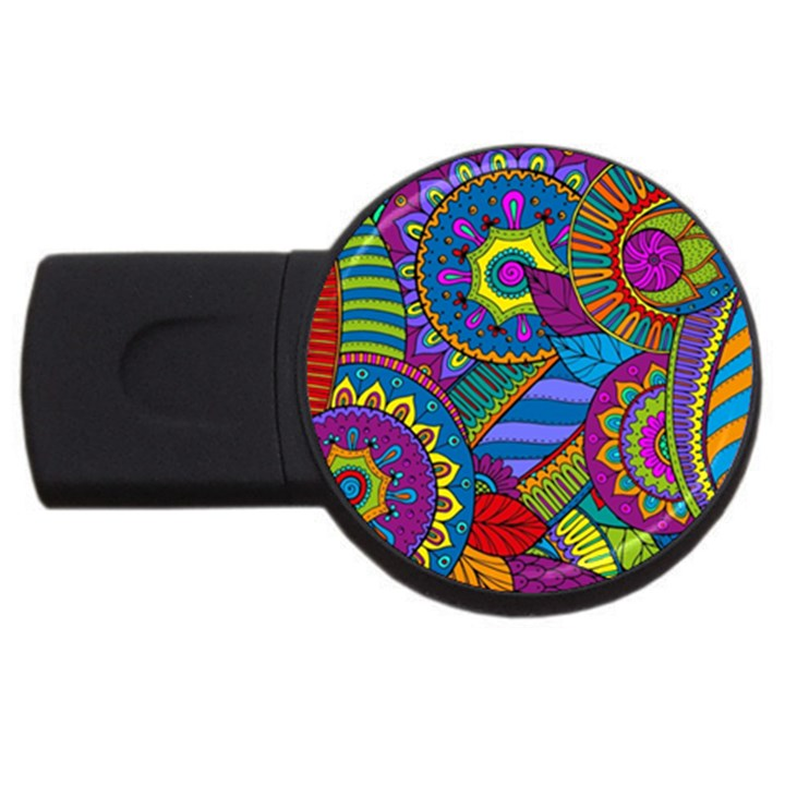 Pop Art Paisley Flowers Ornaments Multicolored USB Flash Drive Round (4 GB)