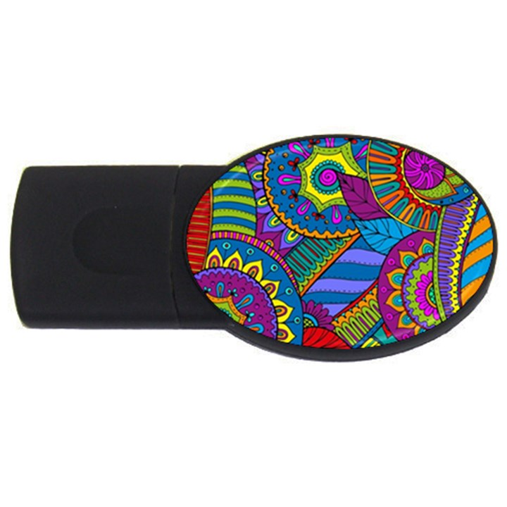 Pop Art Paisley Flowers Ornaments Multicolored USB Flash Drive Oval (4 GB)