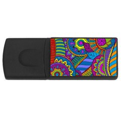 Pop Art Paisley Flowers Ornaments Multicolored USB Flash Drive Rectangular (4 GB)