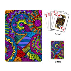 Pop Art Paisley Flowers Ornaments Multicolored Playing Card