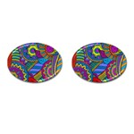 Pop Art Paisley Flowers Ornaments Multicolored Cufflinks (Oval) Front