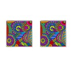 Pop Art Paisley Flowers Ornaments Multicolored Cufflinks (Square) Front