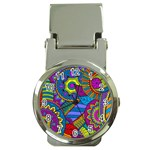 Pop Art Paisley Flowers Ornaments Multicolored Money Clip Watches Front