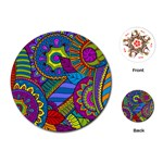 Pop Art Paisley Flowers Ornaments Multicolored Playing Cards (Round)  Front
