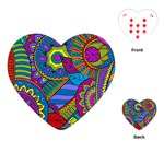 Pop Art Paisley Flowers Ornaments Multicolored Playing Cards (Heart)  Front