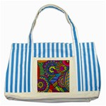 Pop Art Paisley Flowers Ornaments Multicolored Striped Blue Tote Bag Front