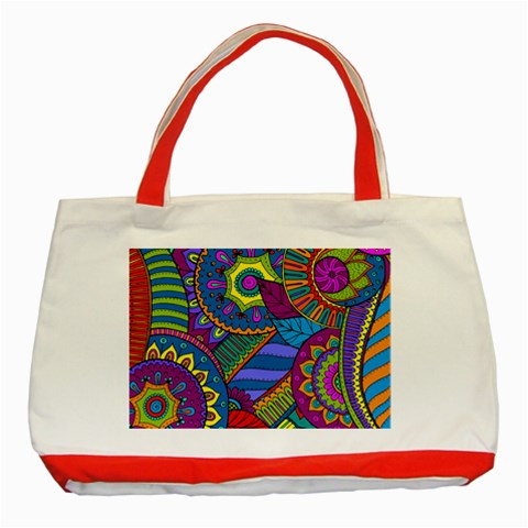 Pop Art Paisley Flowers Ornaments Multicolored Classic Tote Bag (Red)