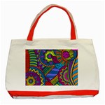 Pop Art Paisley Flowers Ornaments Multicolored Classic Tote Bag (Red) Front