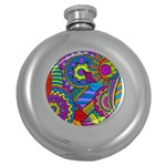 Pop Art Paisley Flowers Ornaments Multicolored Round Hip Flask (5 oz) Front