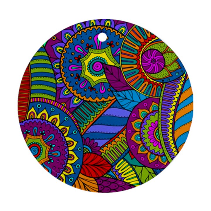 Pop Art Paisley Flowers Ornaments Multicolored Round Ornament (Two Sides)