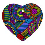 Pop Art Paisley Flowers Ornaments Multicolored Heart Ornament (2 Sides) Back