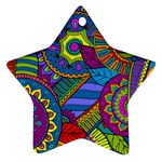 Pop Art Paisley Flowers Ornaments Multicolored Star Ornament (Two Sides)  Back