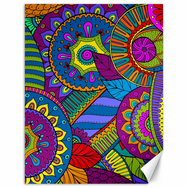 Pop Art Paisley Flowers Ornaments Multicolored Canvas 12  x 16