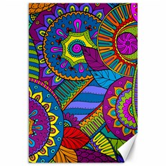Pop Art Paisley Flowers Ornaments Multicolored Canvas 12  X 18