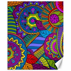 Pop Art Paisley Flowers Ornaments Multicolored Canvas 16  X 20