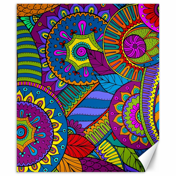 Pop Art Paisley Flowers Ornaments Multicolored Canvas 20  x 24