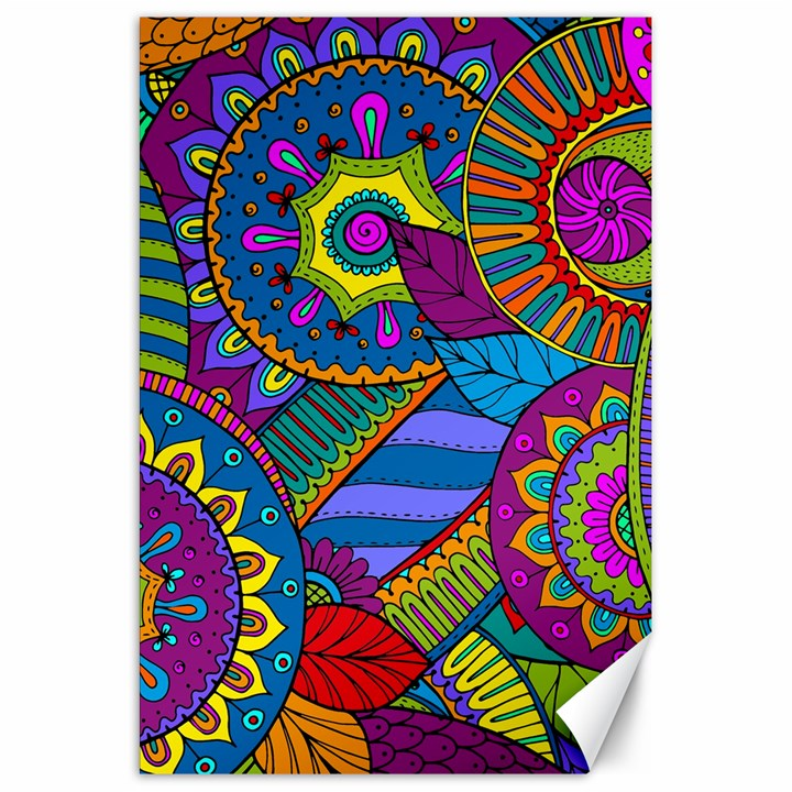 Pop Art Paisley Flowers Ornaments Multicolored Canvas 20  x 30