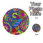 Pop Art Paisley Flowers Ornaments Multicolored Playing Cards 54 (Round)  Front - Diamond5