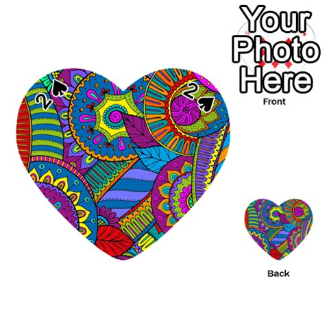 Pop Art Paisley Flowers Ornaments Multicolored Playing Cards 54 (Heart)