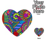 Pop Art Paisley Flowers Ornaments Multicolored Playing Cards 54 (Heart)  Front - HeartJ