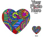 Pop Art Paisley Flowers Ornaments Multicolored Playing Cards 54 (Heart)  Front - Diamond6