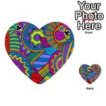 Pop Art Paisley Flowers Ornaments Multicolored Playing Cards 54 (Heart)  Front - Club8