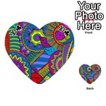 Pop Art Paisley Flowers Ornaments Multicolored Playing Cards 54 (Heart)  Front - Club10