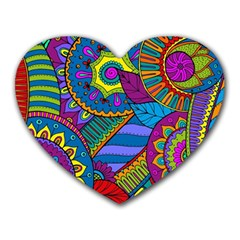 Pop Art Paisley Flowers Ornaments Multicolored Heart Mousepads