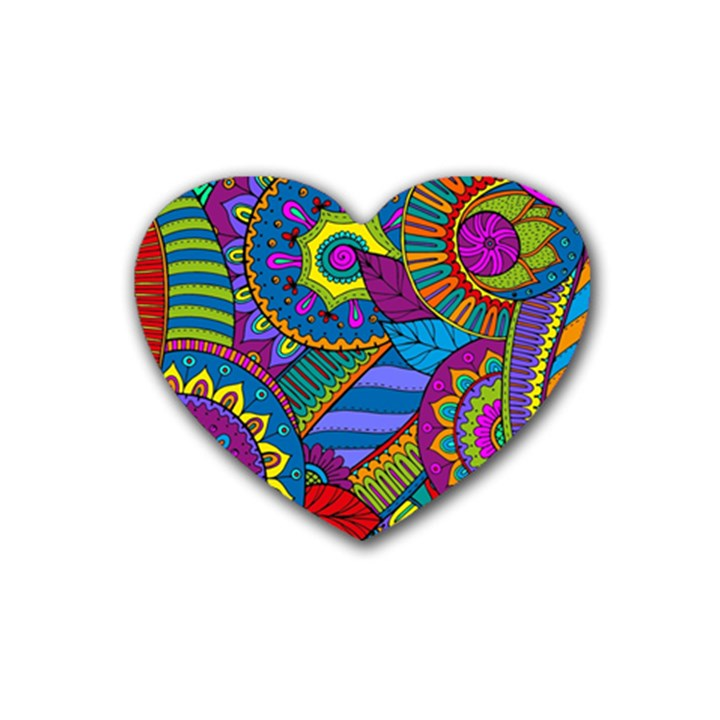 Pop Art Paisley Flowers Ornaments Multicolored Rubber Coaster (Heart)