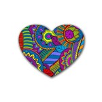 Pop Art Paisley Flowers Ornaments Multicolored Heart Coaster (4 pack)  Front