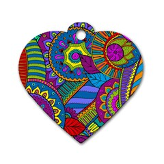 Pop Art Paisley Flowers Ornaments Multicolored Dog Tag Heart (One Side)