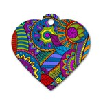 Pop Art Paisley Flowers Ornaments Multicolored Dog Tag Heart (One Side) Front