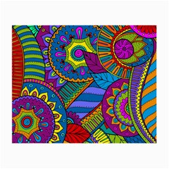 Pop Art Paisley Flowers Ornaments Multicolored Small Glasses Cloth (2 Side)