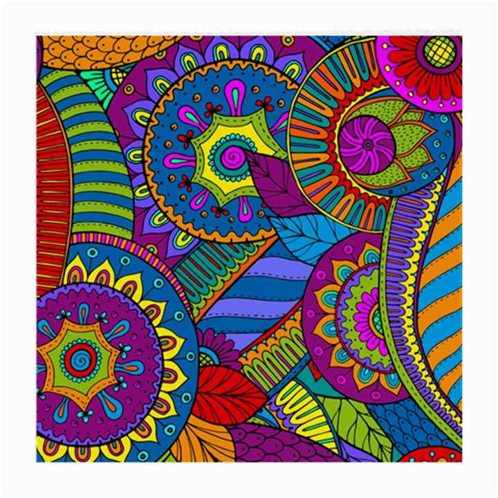 Pop Art Paisley Flowers Ornaments Multicolored Medium Glasses Cloth